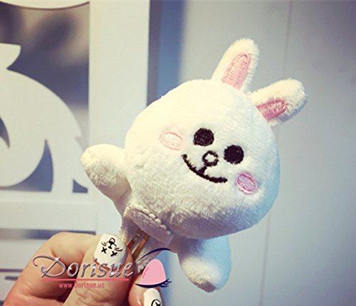 Dorisue Naver Line App Characters Brown Cony Couple plush doll Greeting Hair Clip Cute (Rabbit) (Cartoon Character Couples)