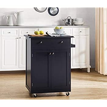 Image of Home and Kitchen 2L Lifestyle Newbury Wood Kitchen Cart, Small, Espresso
