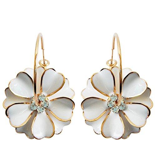 Navachi 18k Gold Plated White Enamel Flower Crystal Az2461e Hoop Earrings(Dia. - Yellow Enamel Flower Earrings