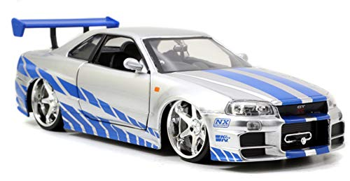 Jada Toys Fast & Furious Brian's 2002 Nissan Skyline R34 Die-cast Car, 1:24 Scale, Silver & Blue (Nissan Skyline R34 Gtr Fast And Furious)