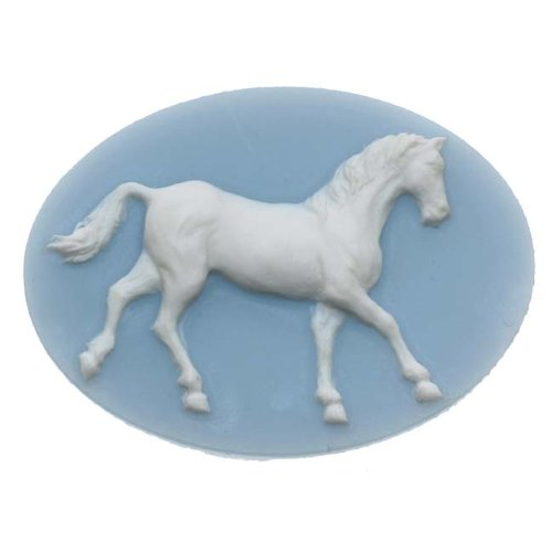 (Beadaholique Vintage Style Lucite Oval Cameo Blue with White Horse 40 x 30mm (1))