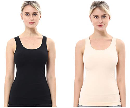 unilane Women's Compression Shapewear Tummy Firm Control Seamless Petite Slim Body Shaper Cami Tank Tops, 2 Packs - Firm Control Cami