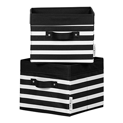 South Shore Storit Canvas Baskets, 2-Pack, Black and White Stripes