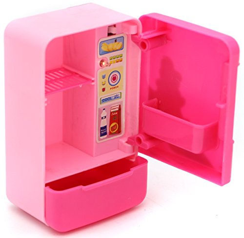 Mini Fridge Appliances – perfect, little pink refrigerator appliance for 3+ girls - Parts of the fridge include a light, movable door and shift able shelf with a pull out freezer drawer (Refrigerator Wooden Play)