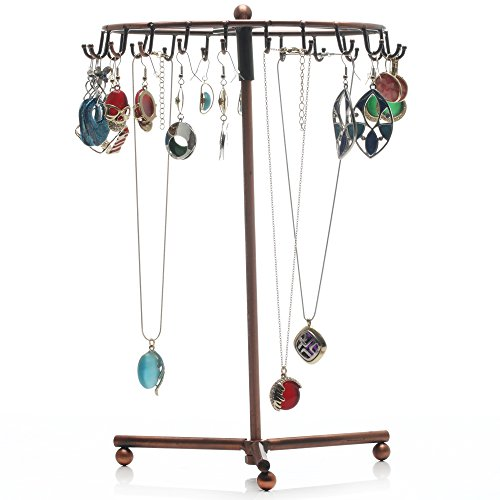Readaeer Rotating Jewelry Holder Stand Display Organizer for Earrings Necklaces Bracelets