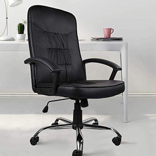 Rimiking Desk Chair Home Office Computer Chair Leather High Back Swiveling Chair Black Armenian American Reporter
