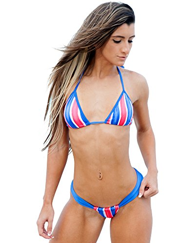 Brazilian Style Tonga In Red White-Blue Stripes 4th Of July Swimwear