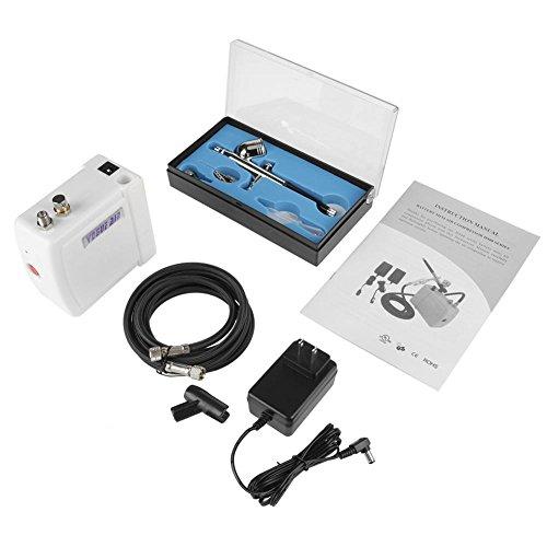 (Portable Mini Airbrush Air Compressor Kit,Top Feed Air Brush Set Nail Art Painting Tool 100V-240V US Plug)