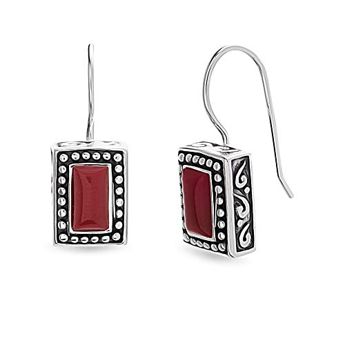 African Rectangle Beads Turquoise (Willowbird Women's Simulated Red Jasper Rectangular Beaded French Wire Drop Earrings In Oxidized Sterling Silver)