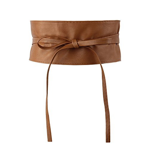 (Women's Bowknot Faux Leather Wrap Around Self Tie Obi Cinch Waist Band Boho Belt Black (Brown))