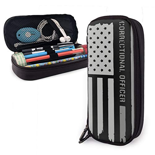Pencil Pen Case Bag Thin Silver Line Correctional Officer Pouch Holder for High College Office Teen Large Storage Purse for Eraser with Leather Pencil Box Desk