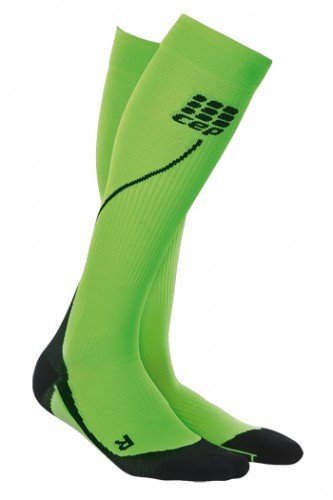 CEP Men's Progressive+ Compression Run Socks 2.0 for Running, Crossfit, Fitness, Calf Injuries, Shin Splits, Recovery, and Athletics, 20-30mmHg Compression, Hawaii Blue/Green, Size 5 by CEP