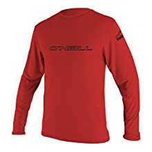O'Neill Wetsuits UV Sun Protection Mens Basic Skins Long Sleeve Tee Sun Shirt Rash Guard, Red, Large