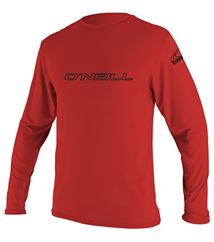 O'Neill Wetsuits Men's Basic Skins UPF 50+ Long Sleeve Sun Shirt, Red, - Second Skin Wetsuits
