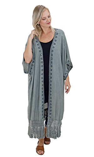 Easel Clothing Athens Oversized Embroidered Fringe Trim Washed Cardigan In Olive - Department Store Athens