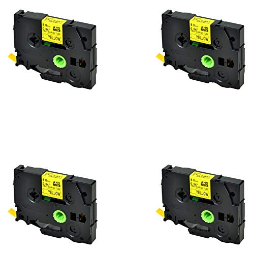 (SuperInk 4 Pack Compatible for Brother HSe-621 HSe621 HS-621 HS621 Black on Yellow Heat Shrink Tube Label Tape use in PT-D210 D200 D400 D450 D600 H300 P700 P900 Printer (0.34''x4.92ft, 8.8mm x 1.5m))