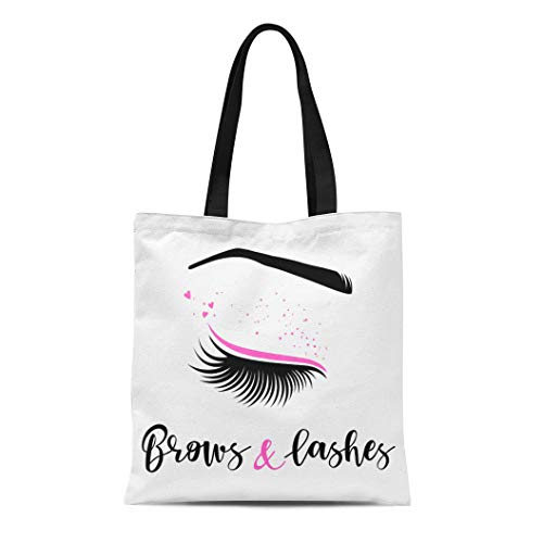 Semtomn Cotton Canvas Tote Bag Brows and Lashes of for Beauty Salon Lash Extensions Reusable Shoulder Grocery Shopping Bags Handbag Printed ()