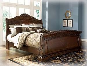 Ashley North Shore 6/0 Queen Sleigh Bed in Dark Brown Wood Best Seller. B553 Queen Sleigh Bed.