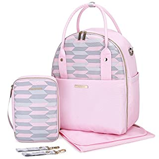 mommore Fully Opened Baby Diaper Bag Pink Travel Backpack with Portable Insulated Bag for Pregnant Wife