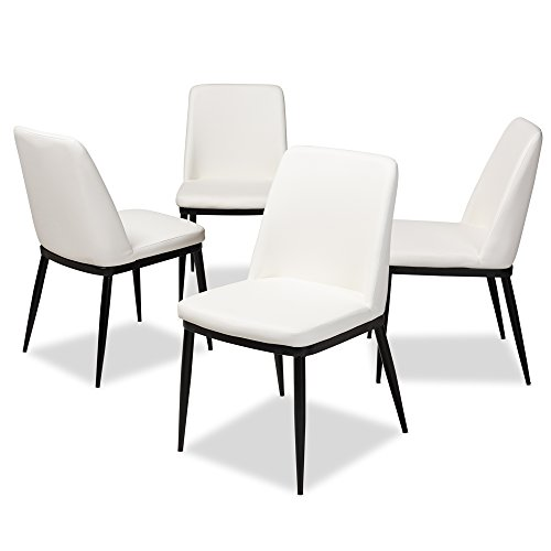 (Baxton Studio Curved Faux Leather Upholstered Dining Chair in White - Set of 4)