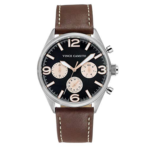 Vince Camuto Men?s Black Dial Brown Leather Strap Watch