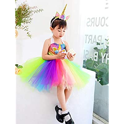 Tutu Dreams Unicorn Costume for Girls 10-12 Plus Size Teens School Performance Prom Ball Gown Party (Sequin Rainbow, XXX-Large): Clothing