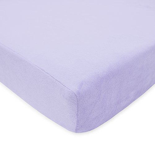 TL Care Heavenly Soft Chenille Fitted Crib Sheet for Standard Crib and Toddler Mattresses, Lavender,28 x 52, for Girls