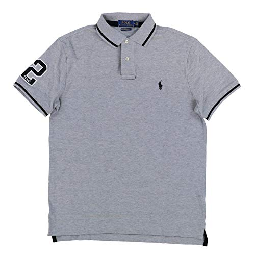 Mesh Collar Polo Shirt - Polo Ralph Lauren Mens Custom Slim Fit Mesh Striped Collar Polo Shirt (X-Large, Gray)