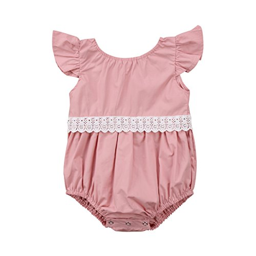 - Infant Baby Girl Clothes Lace Ruffle Sleeve Romper Bodysuit Jumpsuit Outfit 0-24M (Pink, 0-6 Months)
