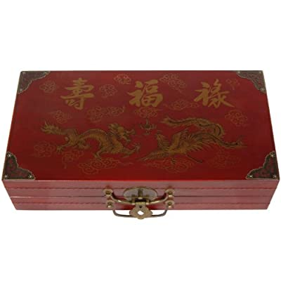 Oriental Furniture Red Lacquer Chess Set Box