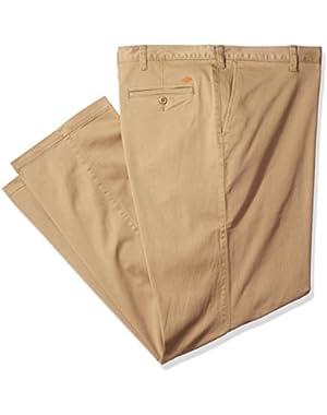Men's Big and Tall Washed Khaki Flat Front Pant