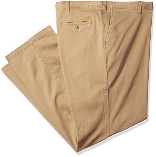 Dockers Men's Big and Tall Washed Khaki Flat Front Pant, New British Khaki (Stretch), 56W x 32L