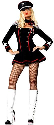 [Leg Avenue Women's Major Mayhem Military Costume, Black, Large] (Sexy Military Costumes)