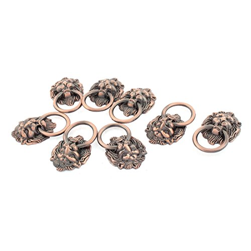 - uxcell Dresser Drawer Cabinet Door Lion Head Pull Handle Ring 8pcs