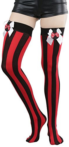 ToBeInStyle-Womens-Opaque-Vertical-Stripes-Thigh-Hi-With-Satin-Lady-Bug-Bow
