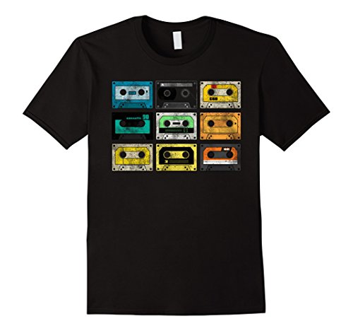 Classic 50's Retro Shirt (Mens Vintage Audio Cassette Shirt 80s 90s Retro XL Black)