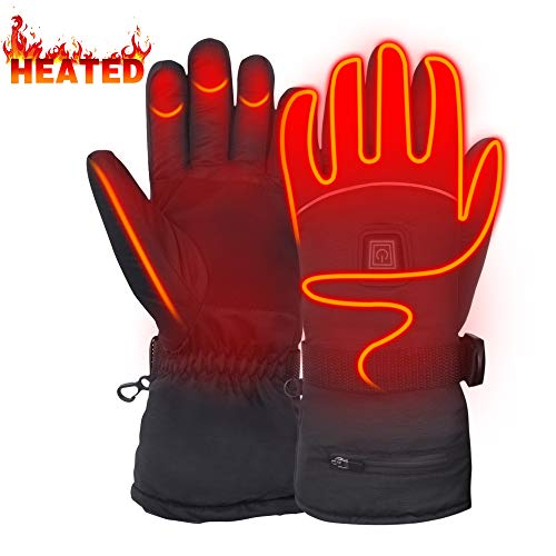 Electric Heated Gloves Battery Powered Gloves for Hunting Shoveling Hiking L (Poor Circulation In Fingers In Cold Weather)