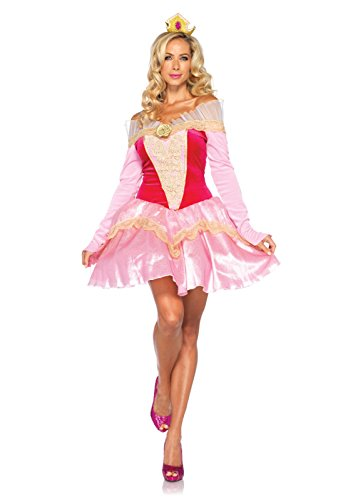 Leg Avenue Disney 2Pc. Princess Aurora Costume Dress with Organza Stay Up Collar and Crown Headpiece, Pink, Small -