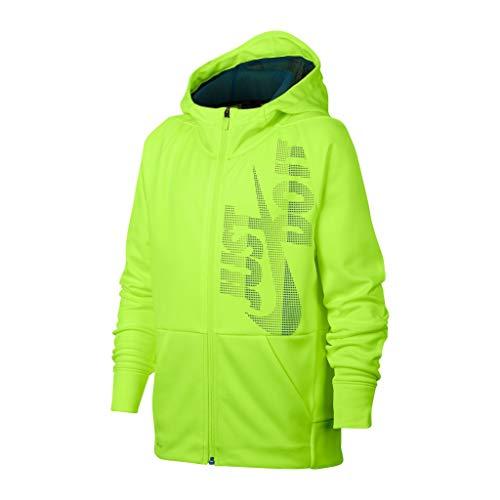Nike Big Boys' Dri-Fit Therma Legacy Just Do It Zip Hoodie (Volt, X-Large) (Yellow Jacket Nike)