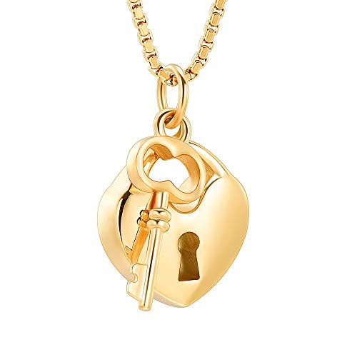 mingkejw Cremation Jewelry for Ashes Stainless Steel Key with My Heart Urn Pendant Memorial Ash Holder Keepsake Necklace(Gold)