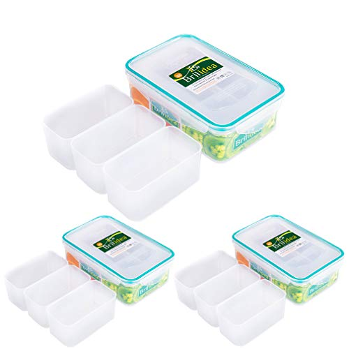 Leakproof Lunch Bento Box Food Storage Container with Airtight Lid and 3 Removable Compartment Dividers 1.22 QT, Odor Proof, Plastic, Freezer Fridge safe, Microwave Dishwasher safe (3)