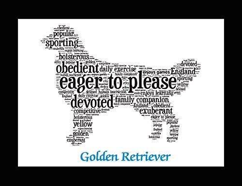 (Golden Retriever Dog Wall Art Print - Personalized Pet Name - Gift for Her or Him - 11x14 matted - Ships 1 Day)