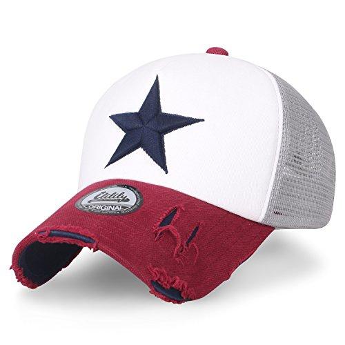 ililily Star Embroidery Black White Trucker Hat Cotton Baseball Cap White/Red