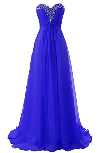 JAEDEN Prom Dress Bridesmaid Dresses Long Prom Gowns Chiffon Formal Evening Gown A line Evening Dress Royal Blue US20W (Chiffon Sweetheart Beading Neck)