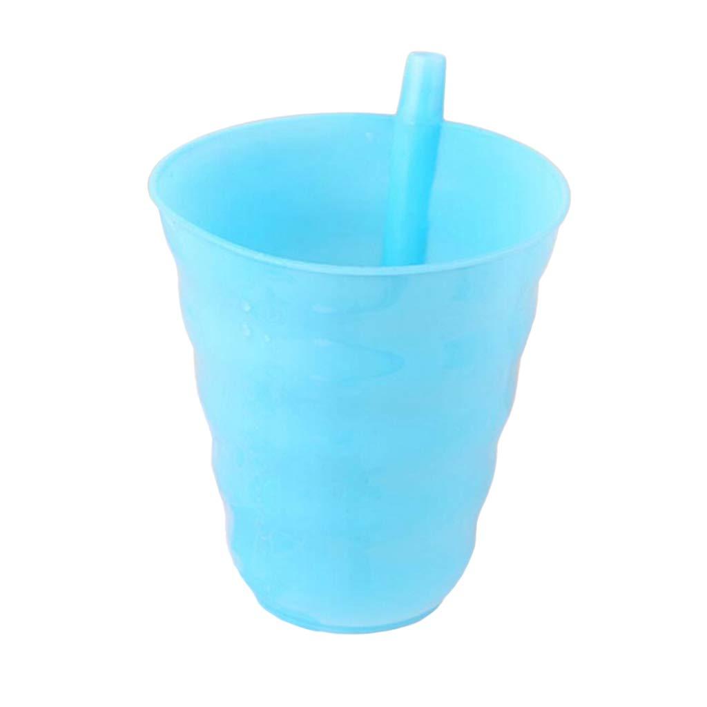 JAGETRADE Kids Children Infant Baby Sip Cup Built in Straw Mug Drink Home Colors Hot Pink