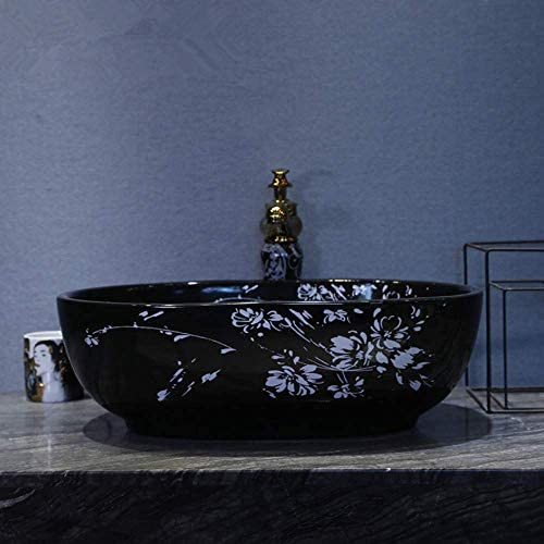 ZKS-KS 中国の洗面台シンクバスルームのシンクボウルカウンターセラミック洗面台のバスルームのシンクボウル楕円形の黒