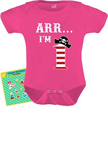 (TeeStars - ARR I'm 1 - Pirate Birthday Party Gift for One Year Old Baby Bodysuit 18M Wow Pink)