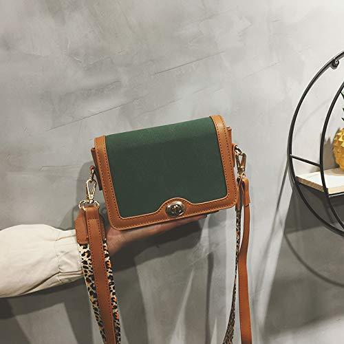 Hombro Color Bandolera Personalidad Chaobaobao Contraste De Blanco Esmerilado Correa Crema Personalidad Pequeño verde Cuadrado Moda La Bolso Bolsos Ancho ESqqZv