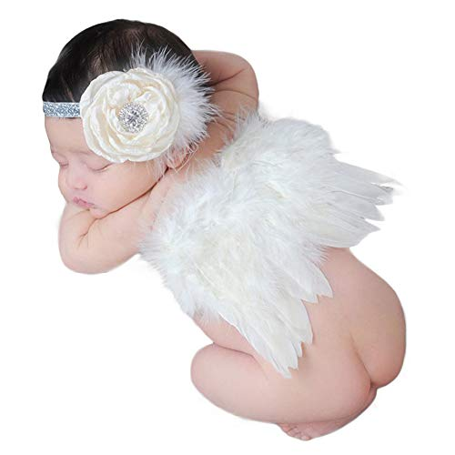 ZTL Newborn Baby Photography Props Angel Wings and Flower Headband Set Photo Prop Costume