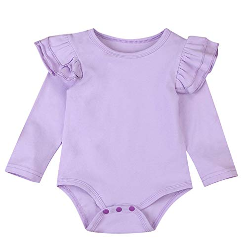 Baby Says Long Sleeve Bodysuit - LNGRY Baby Romper,Toddler Newborn Kids Girls Solid Color Ruffle Ruched Romper Jumpsuit Bodysuit Clothes (0-6 Months, Purple)